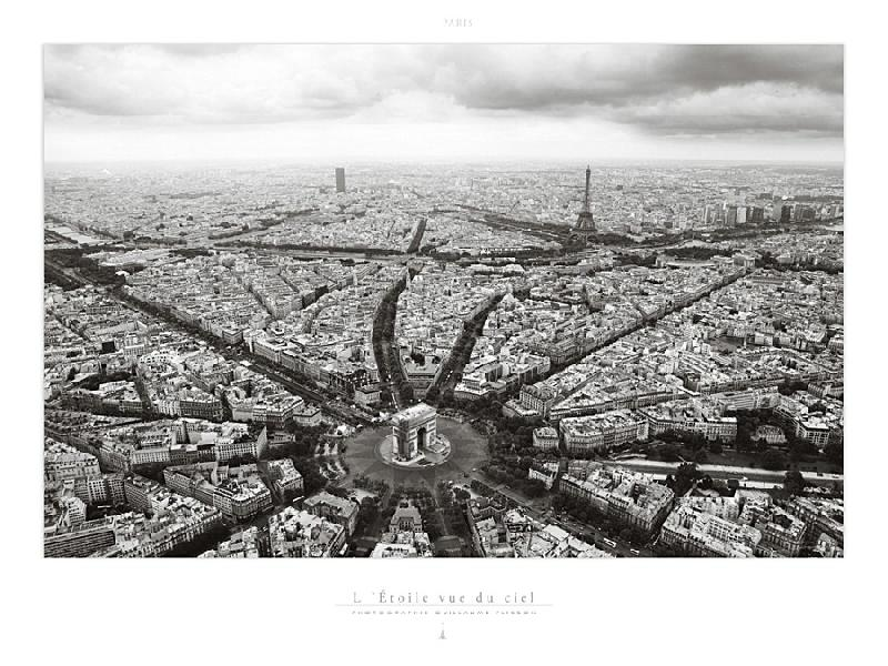 poster photo de paris l 39 etoile vue du ciel acheter poster photo de paris l 39 etoile vue du ciel. Black Bedroom Furniture Sets. Home Design Ideas