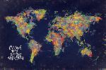 Affiche carte du monde colorée