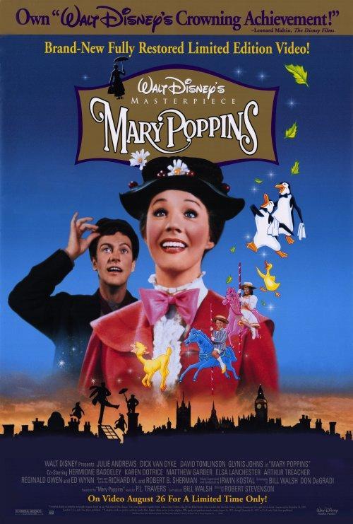 MARY POPPINS : Rien ne va plus dans la famille Banks. La nurse vient de donner ses huit jours. Et ni M. Banks, banquier d'affaire, ni son épouse, suffragette active, ne peuvent s'occuper des enfants Jane et Michaël. Ces derniers passent alors une annonce tout à fait fantaisiste pour trouver une nouvelle nurse. C'est Mary Poppins qui répond et apparaît dès le lendemain, portée par le vent d'Est. Elle entraîne aussitôt les enfants dans son univers merveilleux. Un des plus célèbres films de la production Disney. ...-----... Date de sortie: 1965  Réalisateur: Robert Stevenson  Acteur: Julie Andrews, Dick Van Dyke, David Tomlinson  Genre: Animation, Comédie, Disney, Musical  Nationalité: américain  Durée: 2h14 min