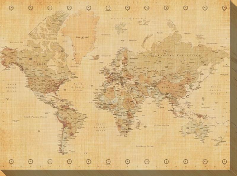 impression sur toile de la carte du monde aspect ancien acheter impression sur toile de la. Black Bedroom Furniture Sets. Home Design Ideas