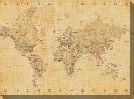 Impression sur toile de la carte du monde (aspect ancien)