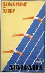 Affiche ancienne publicité plage Australie