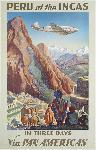 Affiche ancienne le Pérou des Incas via pan American