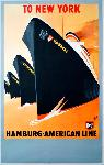 Affiche ancienne To New York, Hamburg-American Line