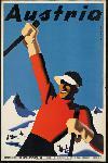 Affiche ancienne Austria, Europe ski