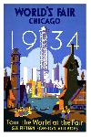 Affiche ancienne publicité World's Fair Chicago 1934, Tour the World at the Fair