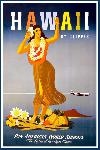 Affiche ancienne publicité Hawaii, Pan American Airways