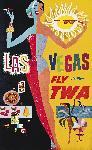 Affiche ancienne publicité Las Vegas Fly TWA