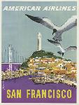 Affiche ancienne publicité San Francisco, American Airlines