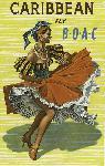 Affiche ancienne publicité Caribbean, Fly B.O.A.C