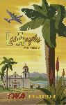 Affiche ancienne publicité Los Angeles fly TWA