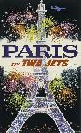 Affiche ancienne publicité Paris Fly TWA Jets