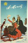 Affiche publicitaire ancienne St. Moritz, Switzerland