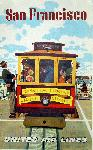 Affiche publicitaire vintage San Francisco, Cable Car, United Airlines