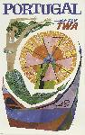 Affiche publicitaire vintage Portugal Fly TWA