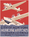 Affiche publicitaire vintage City of New York Municipal Airports