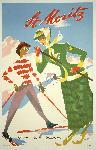 Affiche publicitaire vintage St. Moritz, Schweiz Suisse Switzerland ski
