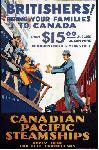 Affiche publicitaire vintage Canadian Pacific Steamships, Britishers! Bring Your Families to Canada