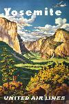 Affiche publicitaire vintage Yosemite, United Air Lines