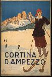 Affiche publicitaire vintage Cortina D'Ampezzo