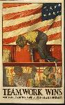 Affiche publicité vintage guerre Teamwork Wins, United State Shipping Board Emergency Fleet Corporation