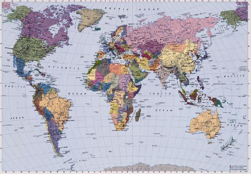 Photo murale de la carte du monde (4 panneau à coller)   acheter
