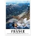 Affiche ancienne Vue téléphérique du Midi Chamonix