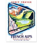 Affiche vintage The French alps les Alpes