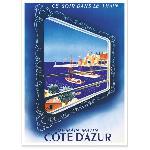 Affiche vintage La Cote d'Azur Train Bleu
