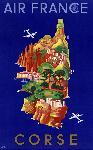 Affiche ancienne de carte de Corse