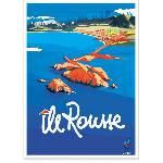 Affiche vintage de Corse Ile Rousse