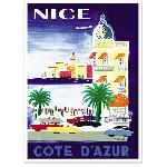Affiche vintage de Nice multicolore