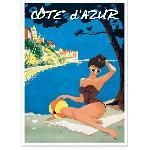 Affiche vintage Côte d'Azur Baigneuse