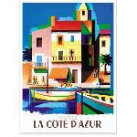 Affiche vintage Côte d'Azur multicolore