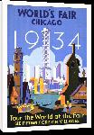 Toiles imprimées Affiche ancienne publicité World's Fair Chicago 1934, Tour the World at the Fair