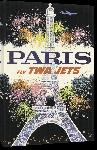 Toiles imprimées Affiche ancienne publicité Paris Fly TWA Jets