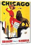 Toiles imprimées Affiche ancienne publicité Chicago, Braniff International Airways