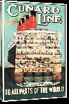 Toiles imprimées Affiche ancienne publicité Cunard Line, To All Parts of the World
