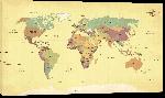 Toiles imprimées Carte du monde effet ancien avec noms de pays en Anglais