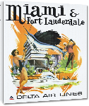 Toiles imprimées Affiche publicitaire vintage Miami and Fort Lauderdale, Delta Air Lines
