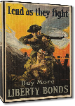 Toiles imprimées Affiche publicité vintage guerre Lend as They Fight, Buy More Liberty Bonds