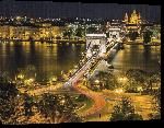 Toiles imprimées Photo du pont de Budapest de nuit en Hongrie