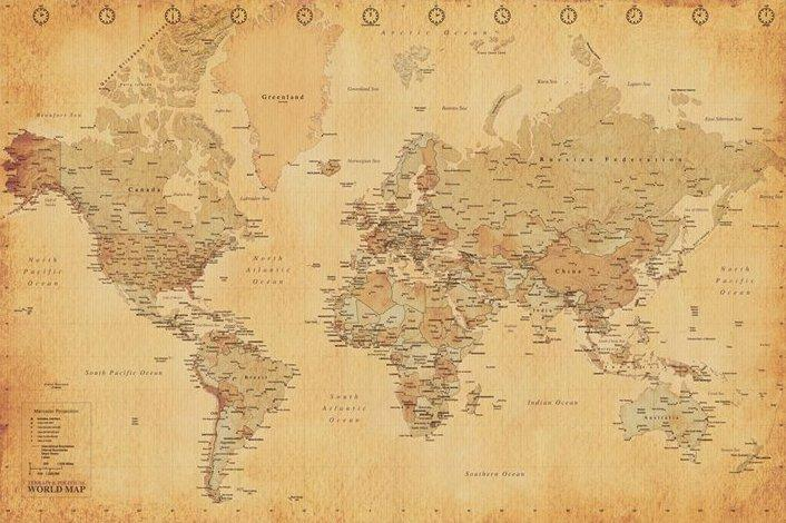 Carte du monde effet ancien   acheter Carte du monde effet ancien