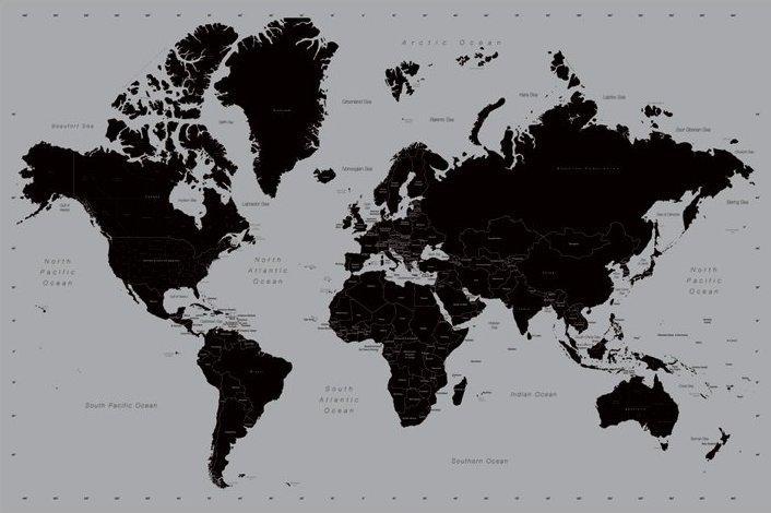 Affiche carte du monde style contemporain   acheter Affiche carte