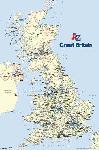Poster carte de Grande Bretagne