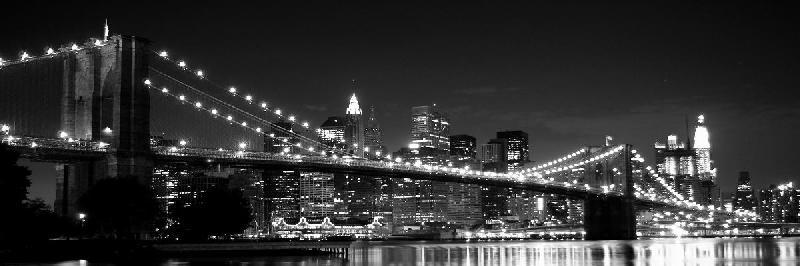 poster noir et blanc du pont de brooklyn à new york - acheter