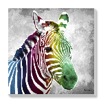 Tableau imprimée sur toile Design Zébre Multicolor