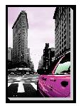 Tableau imprimée sur toile Déco New York Taxi Rose
