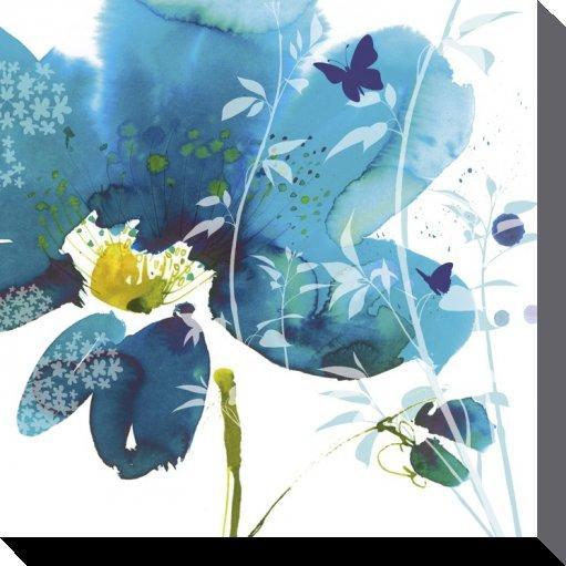 affiches posters tableau sur toile d 39 une fleur bleu de de ses papillons. Black Bedroom Furniture Sets. Home Design Ideas