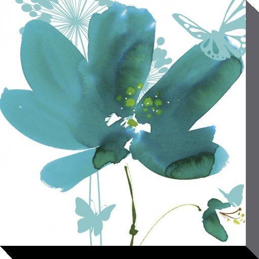 affiches posters toile fleur verte et les papillons. Black Bedroom Furniture Sets. Home Design Ideas